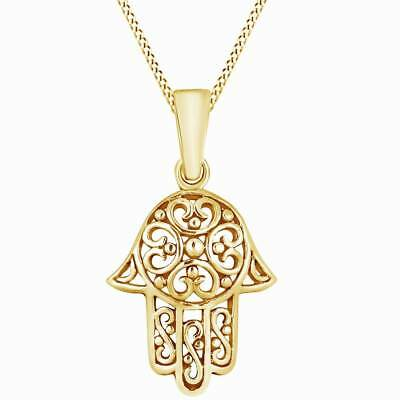 Sweet Swirl Filigree Hamsa Hand 14K Yellow Gold Over Pendant Necklace