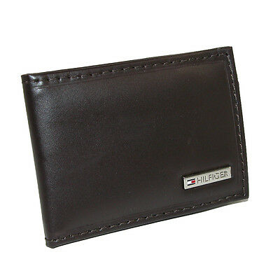 New Tommy Hilfiger Men's Leather Front Pocket Wallet with Money Clip