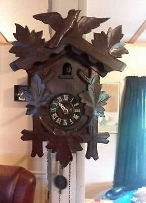 Antique Coo Coo Clock Germany Does work ticking pendulum weight