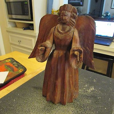 Hand Carved Wooden Angel   Stands 8   Inches Tall