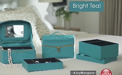 JOY MANGANO Jewel Kit Duo Pair of 3Tier Jewelry Boxes Bright Teal
