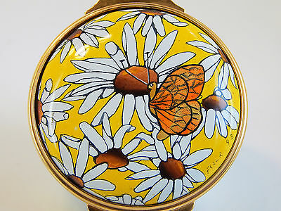Halcyon Days Hinged Enamel Over Copper - Daisys with Butterfly, Fleur Cowles, 93
