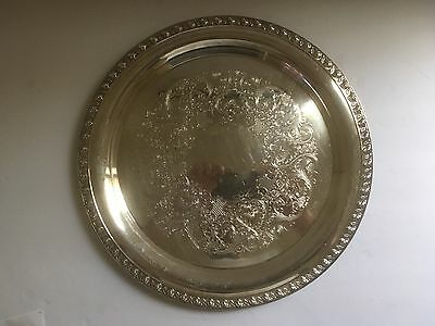 """Antique Rogers Mfg. Co. """"tupperware Rose"""" Collectors Plate Platter Silver Tray"""