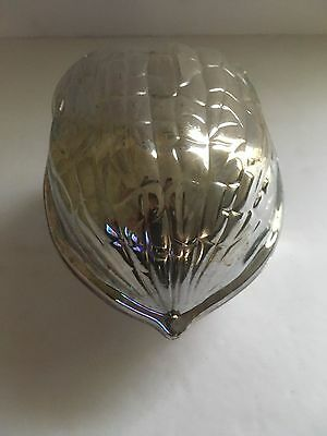 Vintage Silver Plated Almond Shaped Collectors Assorted Nut Dish Bowl Container