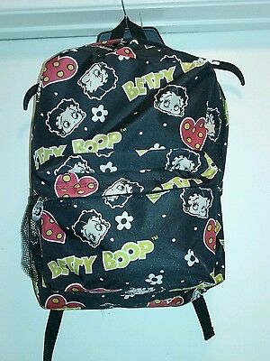 New Betty Boop School Backpack Black Red