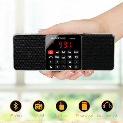 Portable FM/AM Stereo Radio Bluetooth Sup Bass Multimedia Speaker Sleep Timer US