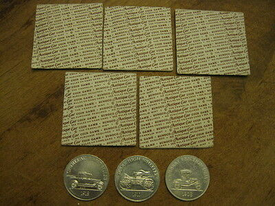 Vintage 1968-1969 SUNOCO Antique Car Coins Lot of 5 UNOPENED Coins