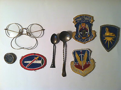 Historical Lot of Misc Items- Spectacles, Mourning Pin, Patches Silver Spoon Etc