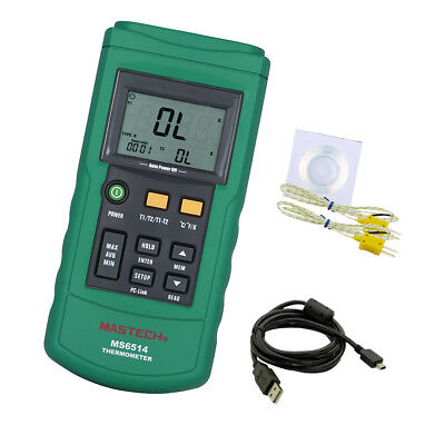 Dual Channel Digital Thermometer with 2 K-Type Thermocouple Sensor Probe