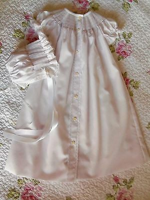 Ready To Smock Front Open Daygown And Bonnet Size 3-6 Months