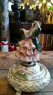 Vintage Porcelain Music Box With Couple Dancing Made In Germany