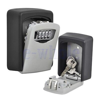 Key Storage Lock Box Wall Mount Holder 4 Digit Combination Outdoor Security BS