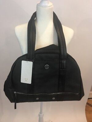 Lululemon Om For All Large Black Duffel Bag Travel Tote Faux Leather Rare NWT