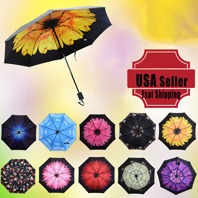 50+ Anti-UV Windproof Sun Rain Protection Flower Parasols 3 Folding Umbrella