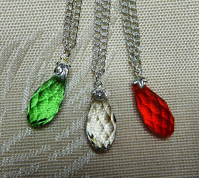 3 girls crystal cut glass teardrop necklace 45cm chain party xmas free gift bag
