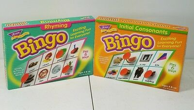 Educational Games Initial Consonants Bingo and  Rhyming Bingo by Trend Y3
