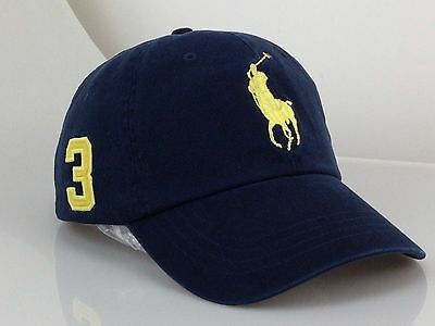Polo Cap With Fine Embroidery Small Pony 3 Logo Adjustable BlueHat Baseball