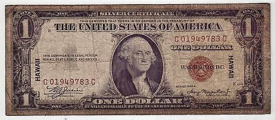 1935A WWII HAWAII Emergency Issue $1 Silver Certificate Note. Tougher C--C SN#