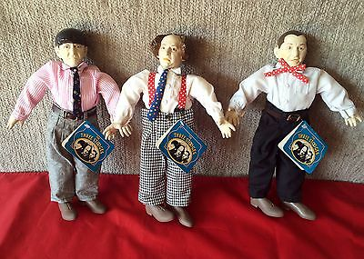 Set of 3 Three Stooges Collector Dolls 1991 Moe Curly Larry Hamilton Presents