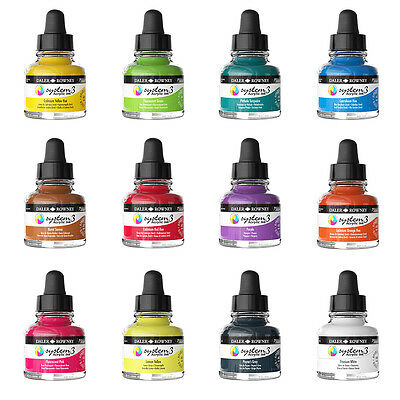 Daler Rowney System 3 Liquid Acrylic Artist Drawing Ink 29.5ml - 28 Colours