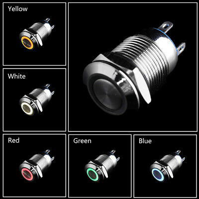12V 16/19/22mm LED Power Push Button Switch Momentary Waterproof Metal