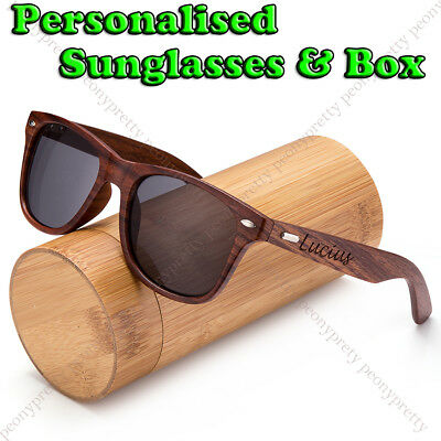 Personalised Custom Walnut Wood Black Lenses UV400 Sunglasses Groomsmen Gift