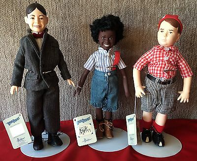 Set of 3 Little Rascals Our Gang Collector Dolls Stands 1989 Effanbee King World