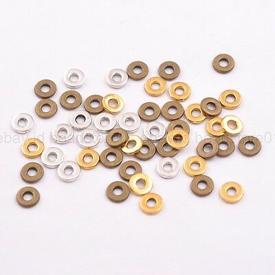 6/8MM Tibetan Silver/Gold/Bronze Rings Spacer Beads Jewelry Findings 100Pcs 3036