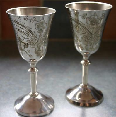 Vintage Pair of Silver Plated Highly Engraved Goblets 5""