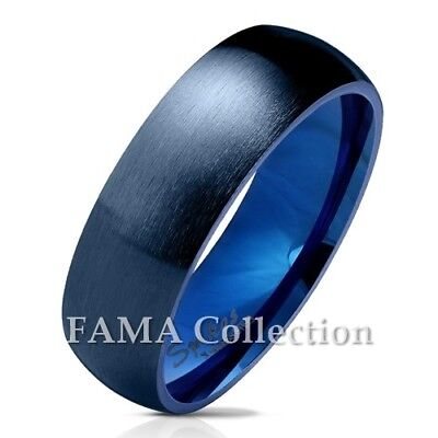 Unique FAMA 7mm Stainless Steel Matte Dome Cut Out Cross Band Ring Size 5-13