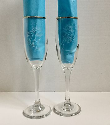 RARE Pepe Le Pew & Penelope Wedding Toasting Champagne Flutes WB Warner Brothers