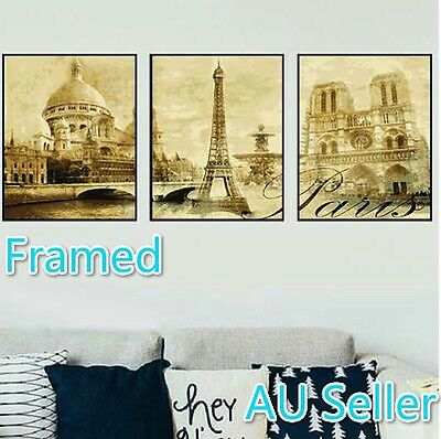 Framed Set of Three 40*50cm Paint by Number Kit Famous Place S5 F3P003 AU STOCK