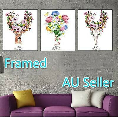 Framed Set of Three 40*50cm Paint by Number Kit Deer S5 F3P004 AU STOCK