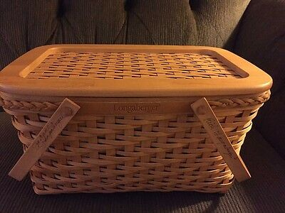 Longaberger Founders Market Basket, Lid & Protector With FAMILY Signatures