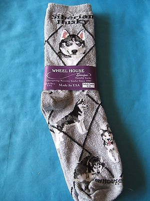 Siberian Husky Socks Grey Size Medium by Wheelhouse Design NWT
