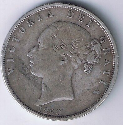 1880 Great Britain Half Crown 1/2 United Kingdom UK Silver Coin Very Fine VF