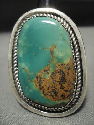 One Of The Largest Yazzie Royston Turquoise Vintage Navajo Silver Ring