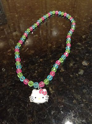 HELLO KITTY By SANRIO Necklace PINK+GREEN+BLUE BEADS With Charm KIDS