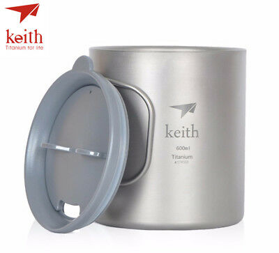 Keith Ti3356 New Double-wall Titanium Mug Camping Cup Water Cup 600ml
