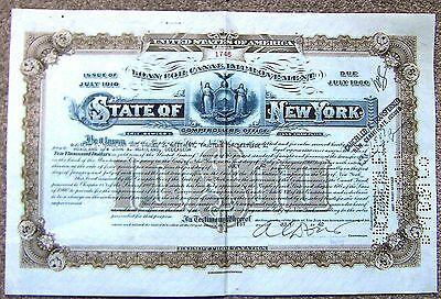 "entwertete Aktie ""State of New York"",1942,Loan for Canal Improvement,Issue 1910"