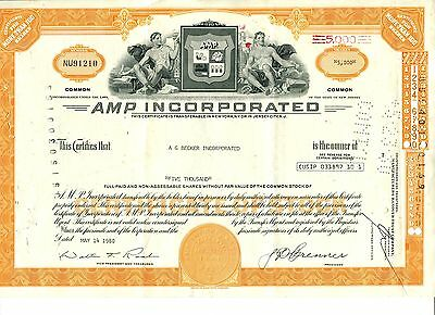"entwertete Aktie ""AMP Incorporated"", New Jersey, 1980, A G Becker Inc."