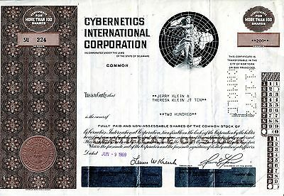"entwertete Aktie ""Cybernetics International Corp."", Delaware, 1969, Jerry Klein"