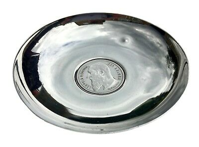 1904 2 Frank- Belgian Leopold Ii Koning Coin Inset Sterling Silver Pin Nut Dish