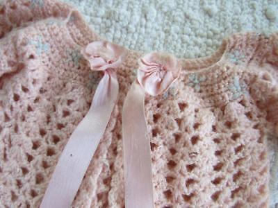 Vintage 1950s Little BABY Girls PINK Sparkly SWEATER Satin Ribbon ROSETTES Doll