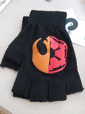 Disney Star Wars Empire and Rebel Fingerless Gloves Black Knit Ladies
