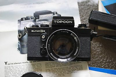 Vintage Topcon Super DM Black Classic Camera with Topcor 58mm Lens wh Papers