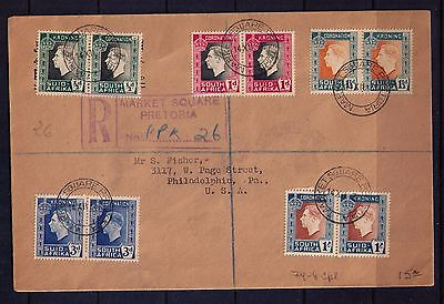 South Africa 1937 Cover with Cpl. Sc # 74-8 KGVI Pretoria to Philadelphia ,USA