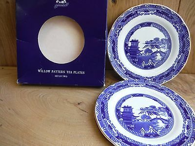 Ringtons Tea by Wade Willow Pattern Set of 2 Tea Plates Boxed