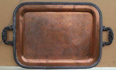 "Large Engraved Antique Copper Plated Serving Tray - ""Wm. A. Rogers, 495 397"""