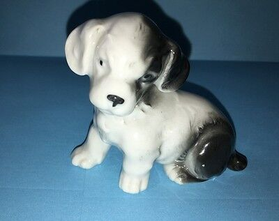 Vintage German Porcelain Seated Spaniel Pup Dog Figurine, See Maker's Mark
